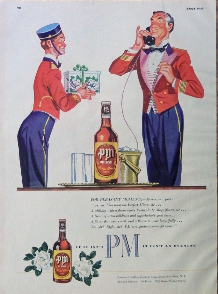 PM Whiskey  40 s print ad  full page color illustration  Bell Hops 1948 edition of Esquire Magazine