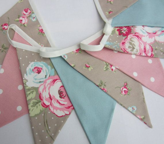 Fabric Bunting Taupe Duck Egg Pink Pennant by AllTheTrimmingsUK
