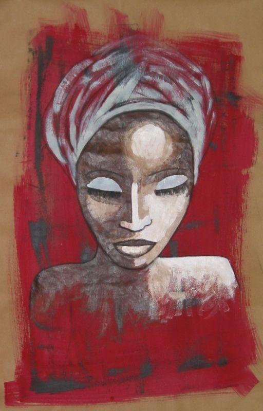 Visage africain sur craft 40x60 photo de serviettage home d co d co africaine - Peinture sur visage ...