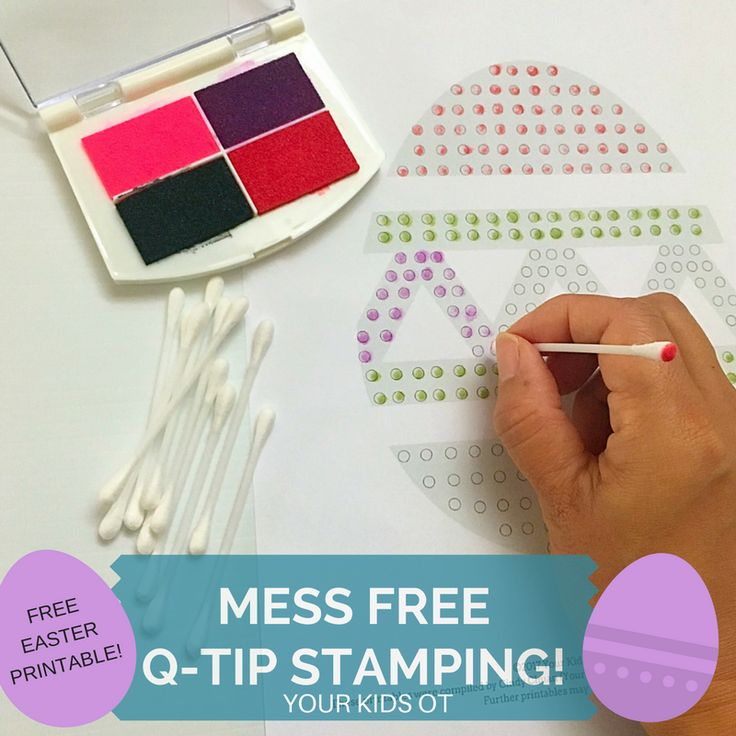 MESS FREE Q-TIP STAMPING! {FREE EASTER PRINTABLE} YOUR KIDS OT