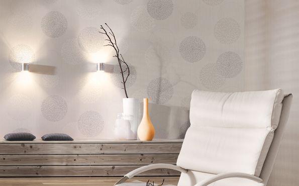 Wandgestaltung Mit Farbe Und Tapete : Schlichte Tapete mit hellen Kreisen * wei?e Wandgestaltung * Ideen