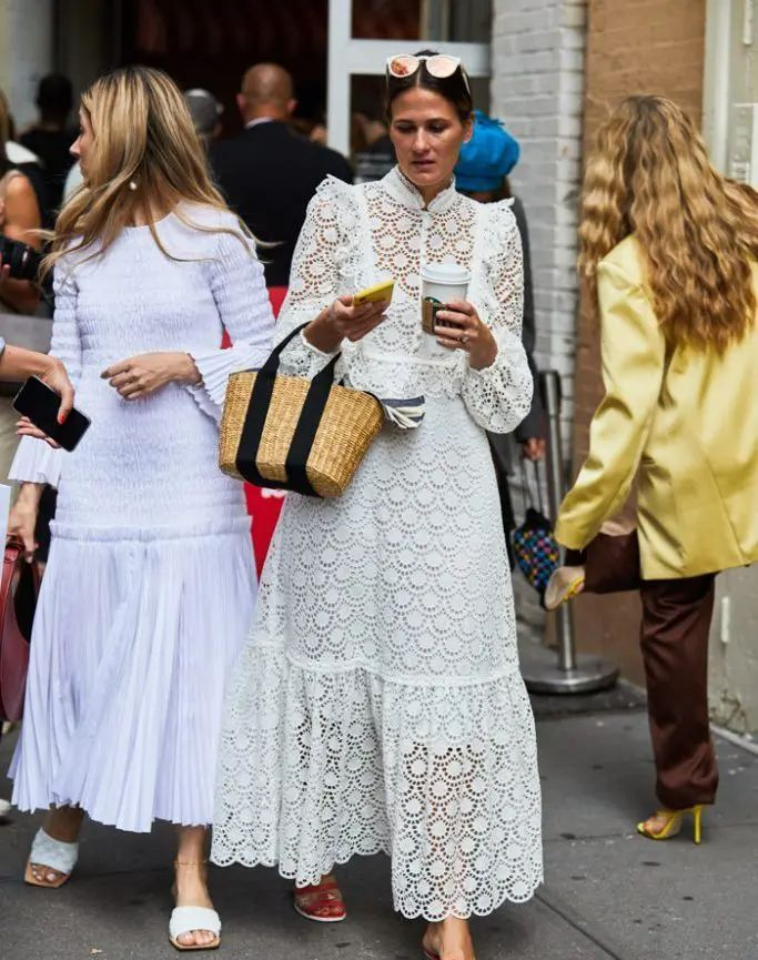 In the Mood for...White Dresses + Straw Bags.
