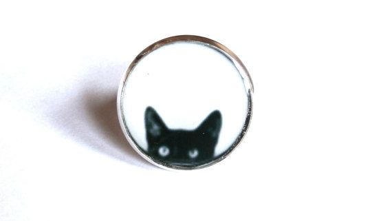 Black Cat ring Peeking Cat ring cat ring cat by danslairdutemps