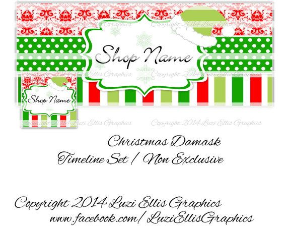 Christmas Damask Facebook Timeline  Banner & by LuziEllisGraphics