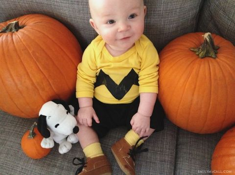 Charlie Brown for Halloween + 22 other bald baby costumes
