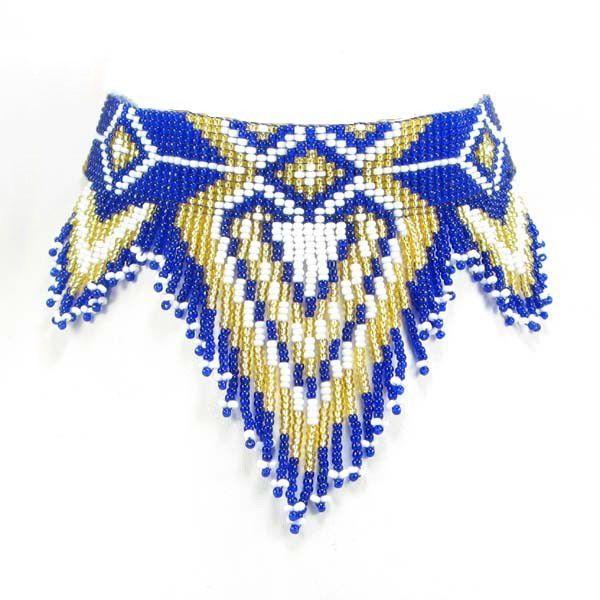 Blue Golden White Heart Beaded Bib Necklace Choker Handmade 11/0 Seed Beads