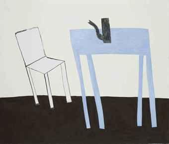 Klaas Gubbels (Pays-Bas, 1934-) Witte stoel met blauwe tafel (1999)