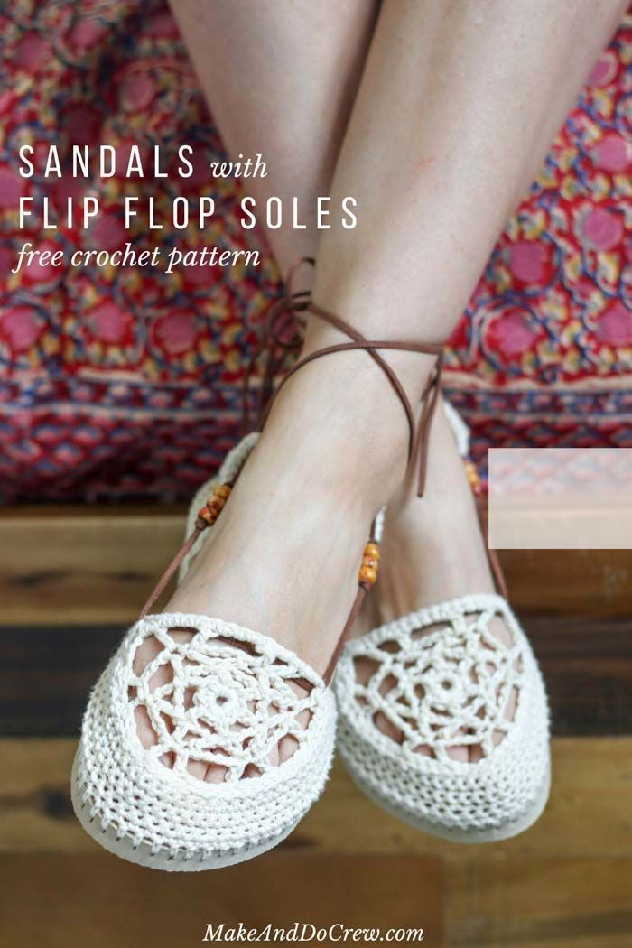 67260d58d2054 This free crochet flip flop sandals pattern shows you how to make your own  beach sandals. So cute!  sandalsdiyhowtomake  beachsandalsdiy