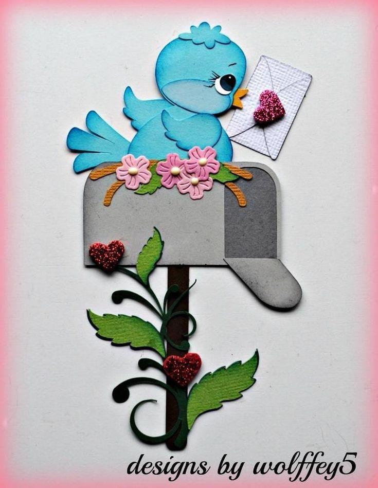 ELITE4U BIRD VALENTINE premade paper piecing scrapbook diecut piece page WOLFFEY #wolffey5