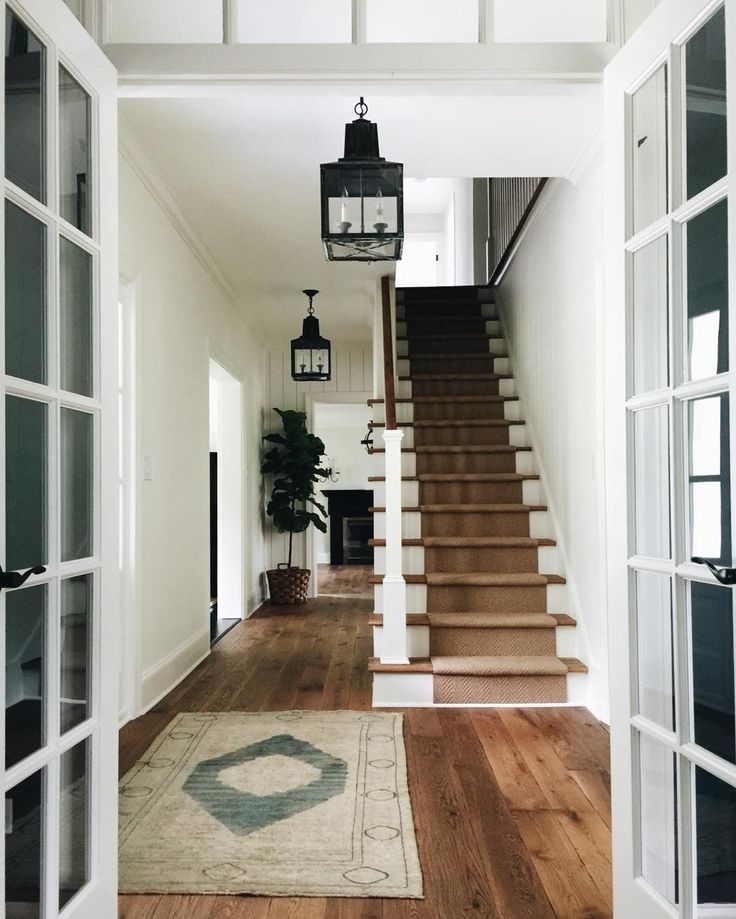 Farmhouse Stairs, Foyer Decorating
