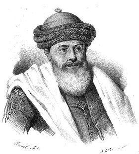 Hussein Dey ou Hussein Pacha, né vers 1765 à Smyrne (Turquie) et mort en 1838 à Alexandrie (Italie), est le dernier dey d'Alger. Dessiné d'après nature à la Cassauba (Casbah), le 7 juillet 1830.