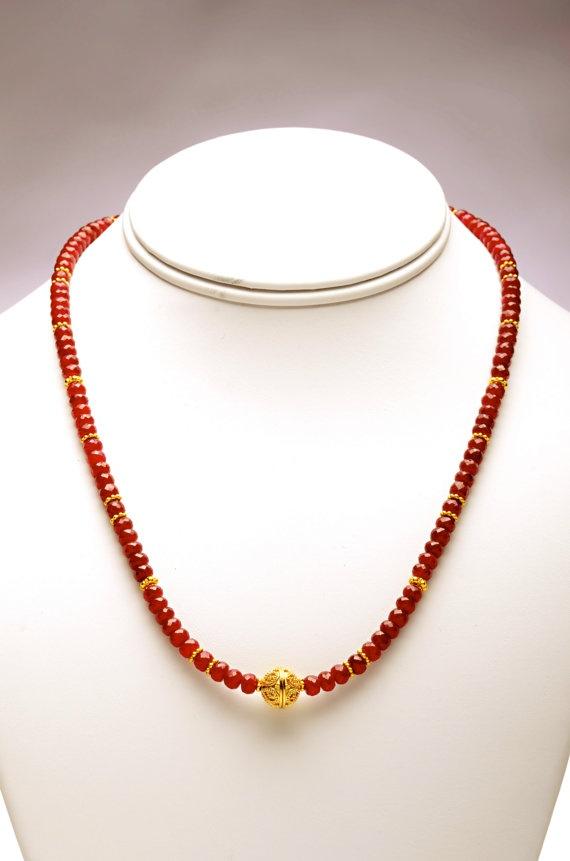 Rich Ruby Gemstones With Gold Bali Beads by scarletgems on Etsy