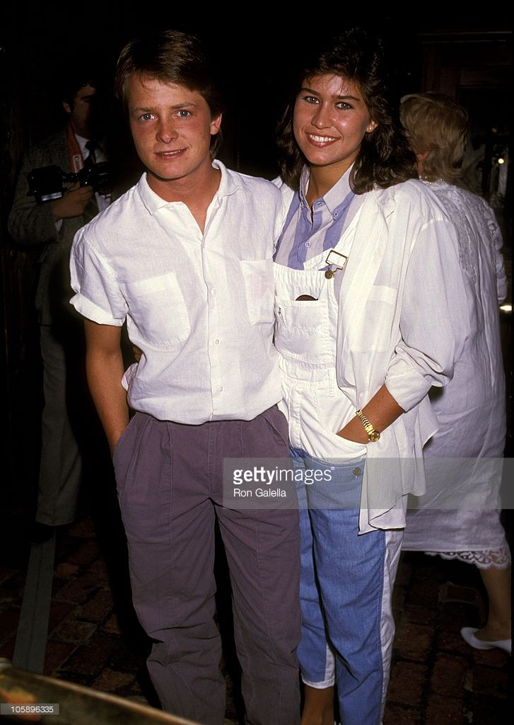 Michael J. Fox and Nancy McKeon during David Hasselhoff & Catherine Hickland Wedding at Wompoppers Restaurant in Universal City, California, United States. 1984