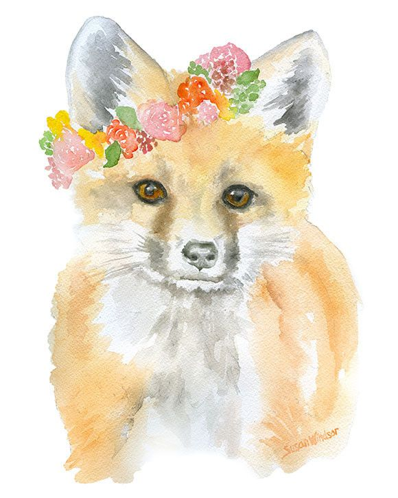 Fox with Flowers watercolor giclée reproduction. Portrait/vertical orientation. Printed on fine art paper using archival pigment inks. This quality printing allows over 100 years of vivid color in a t