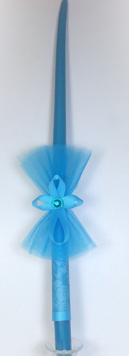 Teal Cross - Greek Easter Candle (Lambatha) by EllinikiStoli on Etsy (null)