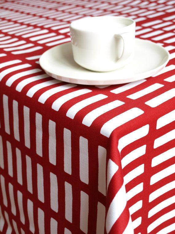 Tablecloth White Red Stripes 37x56 Or Made To Order By Dreamzzzzz, $25.00