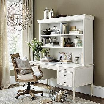 White Verona Desk with Hutch