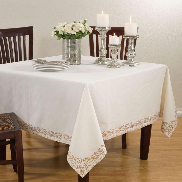 Beautiful Contemporary Style Scroll Bordered Design Cotton Tablecloth Decor 72 X 72  Inch