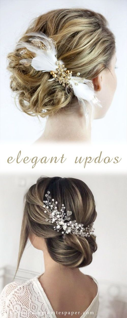 42 Gorgeous Wedding Hairstyles---elegant updo hairstyle with chic hairpieces, vintage weddings,, wedding hairstyles for long hair