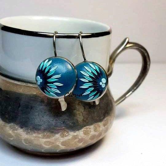 Orecchini blu Voronet in pasta polimerica  di ClaudiaNicolazzo