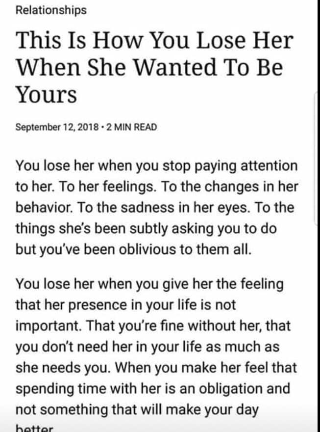How You Lose A Woman Attention Quotes Relationship Quotes She