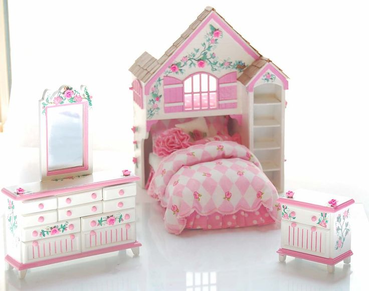 Think pink - deliciously pink - bubblegum pink. DOLLYS DREAM. A darling Playhouse Bed Set. Dollhouse Miniature Furniture. One Inch scale. The PLAYHOUSE BED - custom designed, laser cut, hand-assembled, hand-painted, hand-shingled, custom dressed. Its incredible - every little girls idea of a the perfect bed. With a matching dresser & mirror plus nightstand.  The playhouse features an alcove for the twin bed to slid into - with just enough head room that your miniature doll shouldnt bump her…