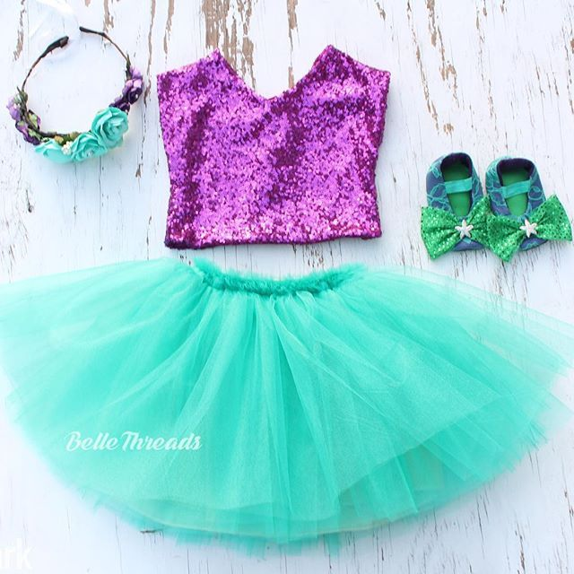 Mermaid Princess Sparkle outfit  Our new sequin tanks are gorgeous!! The v-neck line adds an elegant touch.  You can pair these up with our tutus or bloomers!  Order at www.bellethreads.com