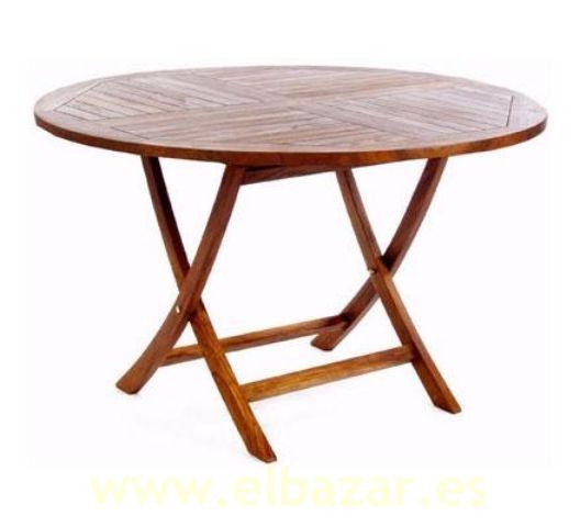 Mesa de teca exterior redonda plegable peq muebles - Mesas de madera plegables para exterior ...