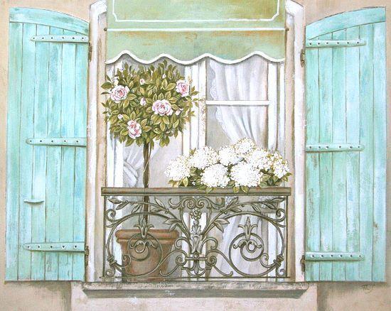 stefania ferri french shutters 2 landhaus fertig bild 40x50 wandbild shabby motive f r. Black Bedroom Furniture Sets. Home Design Ideas