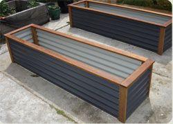 Love the colour of these raised garden beds and the timber surround and capping.