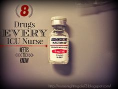 8 Drugs Every ICU Nurse Needs to Know. What drug to give during which arrhythmia. Very important for new ICU nurses to know. #icu #nurse http://nursenightingale13.blogspot.com/