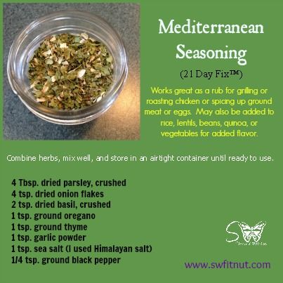 Mediterranean Seasoning / 21 Day Fix free food (use as needed to spice up any…