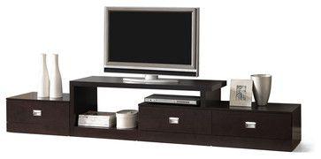 Baxton Studio Marconi Brown Asymmetrical Modern TV Stand - transitional - Media Storage - Baxton Studio