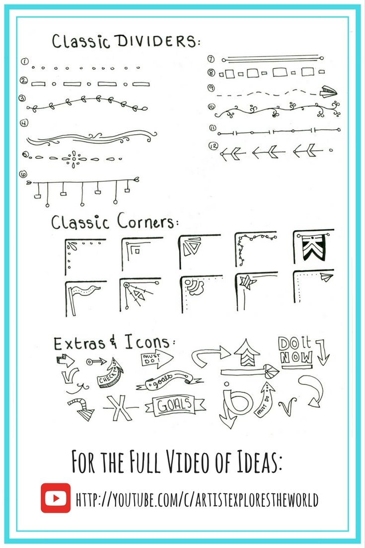 Bullet Journal dividers, ideas, icons. Simple and classic.