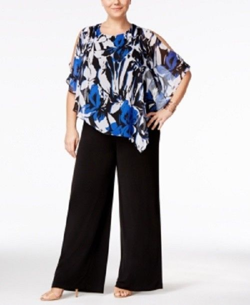 cba0c611b2dab Connected Plus Size 22W Blue Black Cold-Shoulder Cape Jumpsuit 2388   connectedappearl  Jumpsuit  Casual