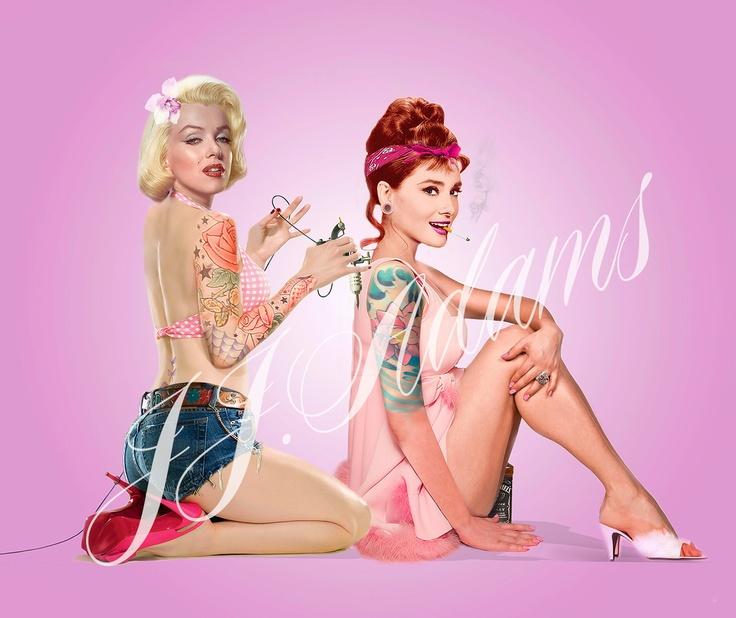 Marilyn Monroe & Audrey Hepburn Tattoo Pinup Print by JJ ...