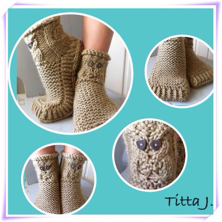 Owl in love -slippers / sydämelliset helmipöllötossut