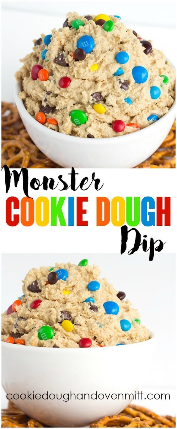 Monster Cookie Dough Dip - dip inspired by the monster cookie and perfect with pretzels. It's loaded with peanut butter, oatmeal, candies, and chocolate chips and whipped until light and airy.