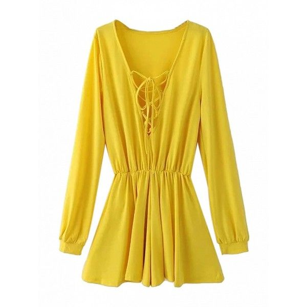 Choies Yellow Plunge Lattice Lace Up Blouson Sleeves Romper Playsuit ($20) ❤ liked on Polyvore featuring jumpsuits, rompers, yellow, playsuit romper, yellow romper, long-sleeve rompers, long-sleeve romper and plunge romper