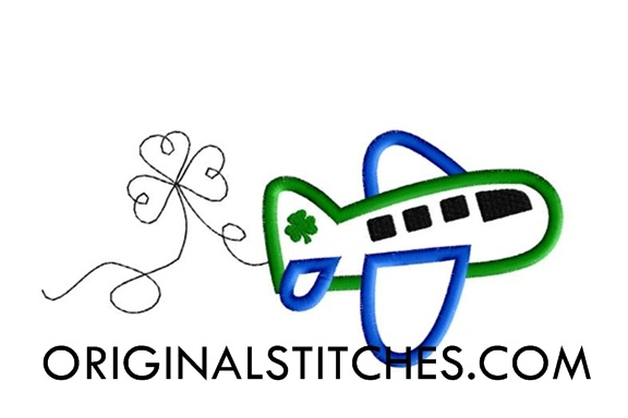 shamrock airplane applique original stitches st. Black Bedroom Furniture Sets. Home Design Ideas