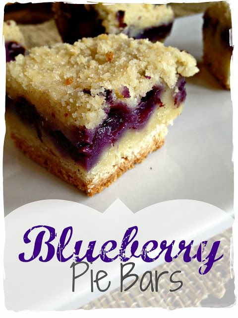 "Blueberry Pie Bars: Bite Size Blueberry Pie? What a great idea for a ""little dessert"" for parties, brunches, or lunches. Soft crust, smooth berry filling and struesel topping. Basic ingredients is what brings out the best of the blueberry. The secret is all in how those delicious layers meld together! Ice cream optional, and its not really needed. This dessert is good all by itself, just the way it is!"