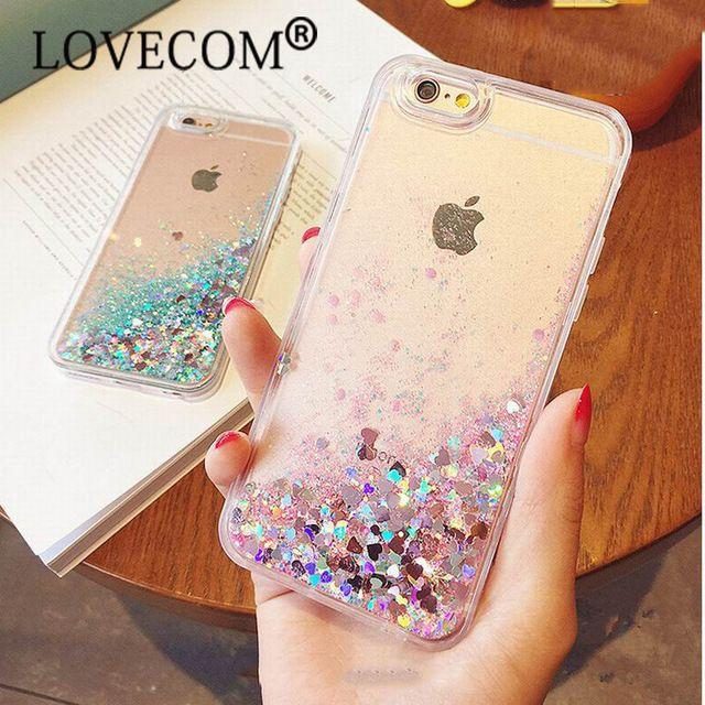 Amor Do Coração Estrelas Estrelas do Glitter Líquido Dinâmico Areia Movediça Macio TPU Telefone de Volta caso capa para iphone 5 5s se 6 6 s plus 7 7 além de