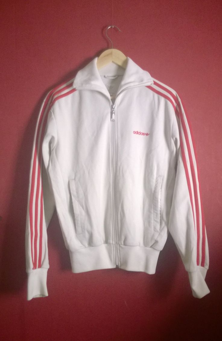 Vintage 80s90s Adidas Superstar Jacket White+Red Stripes VINTAGE 1980s90s JACKET ADIDAS superstar Large Zipup White Trefoil Adidas Track L by VirtageVintage on Etsy