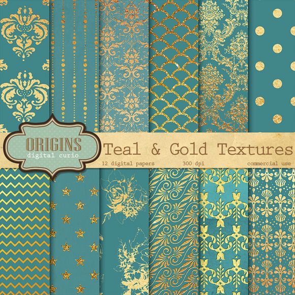 Teal and Gold Digital Paper by Origins Digital Curio on Creative Market