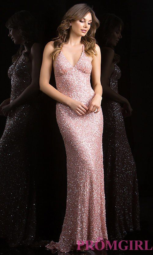 39039c6c51b Long V-Neck Sequin Dress with Open Back by Scala