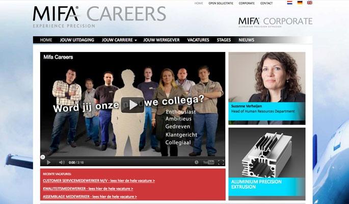 Ontwerp website MIFA Careers