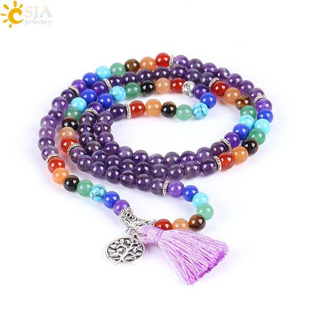 Discounts $5.92, Buy CSJA Reiki Natural 7 Chakra Multi-layer Charms Bracelets for Women Purple Quartz Mala Yoga Beads Meditation Healing Tassel E655