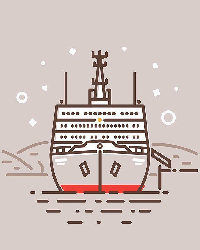 Продолжение всеобщей иконизации, сегодня благодаря @mishapanfilov под раздачу попал  атомный ледокол «Ленин» — первое в мире надводное судно с ядерной силовой установкой, а ныне музей. #иконки #дизайн #арт #вдохновение #мурманск #маяк #art #design #icon #designer #inspiration #graphicdesign #murmansk #lighthouse #ffkrs