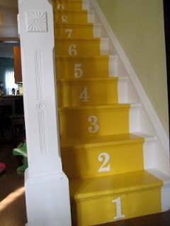 Numbered Stairs. From http://lovermother.blogspot.com/2010/02/stairs-are-done.html