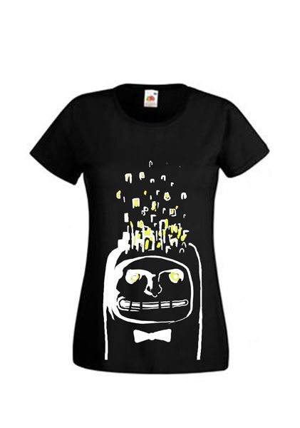"""Girls t- shirt with """" Mister head """" awesome design. Hand painted shirt frotm Tooba Posters desgins. Black shirt for girls :) Etsy- toobaposters #shirt #cloth #clothing #girl #woman #handmade #t-shirt #black #white #cool #nice"""